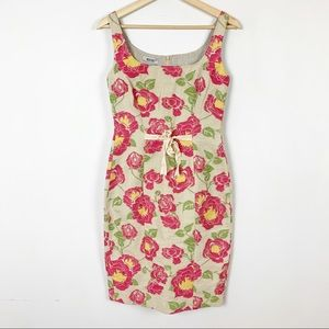 NWT MOSCHINO Floral Fitted Waist Bow Dress 6